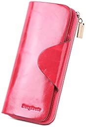 Borgasets Women\'s Organizer Wallet Genuine Leather Large Trifold Zipper Purse Rose