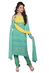 Vibes Womens Nazneen Siffon Unstiched Dress Materials (V262 1688_Green)