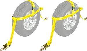"""2-Pack Auto Hauler 16"""" Tire Wheel Bonnet Cam Adjustable Tie-Down Strap"""