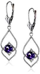 Sterling Silver Gemstone Lever-Back Dangle Earrings