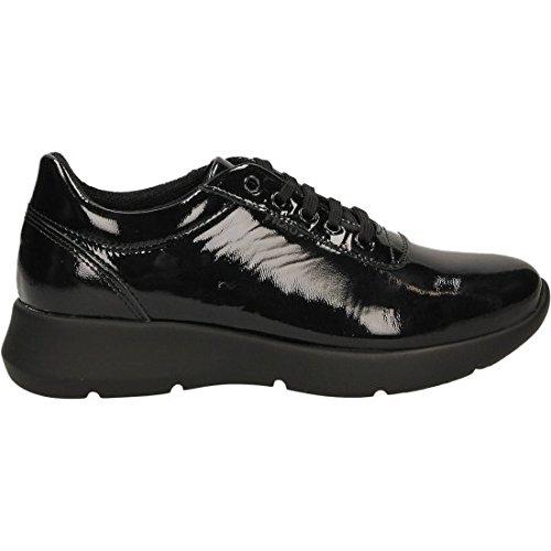 42V2NERO Scarpa Donna Frau sneaker vernice nero fondo lightsole
