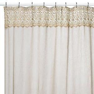 Amazon.com - Decorative Fabric Shower Curtain Ivory 72W x 72L - Peri Homeworks Collection