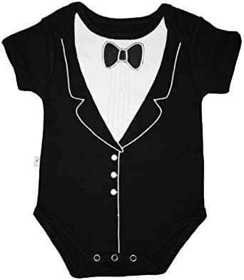 Funny Baby One-Piece Bodysuit, Tuxedo (6-9 months), Frenchie Mini Couture