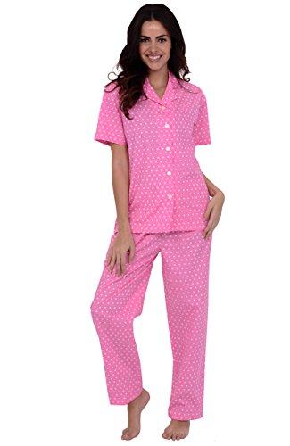 Del Rossa Women's 100% Cotton Short Sleeve Pajama Set with ...
