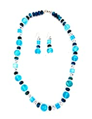 Blue Party Wear Fashion Jewellery Beautiful Beaded Necklace By Modish Look