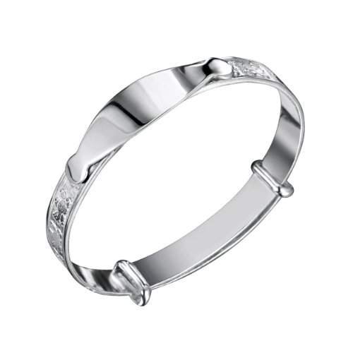 Jo Expanding Sterling Silver Full Teddy ID Baby Bangle 45mm
