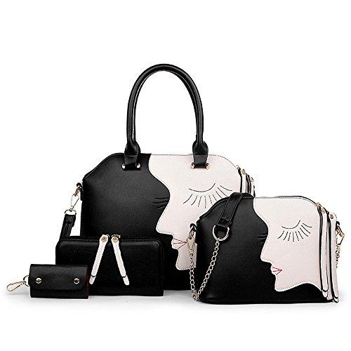 1-Satz-von-Frauen-Taschen-PU-Tote-Schulranzen-Geldbrse-Schlsselpaket-Handtasche-Umhngetasche-Set-Schwarz