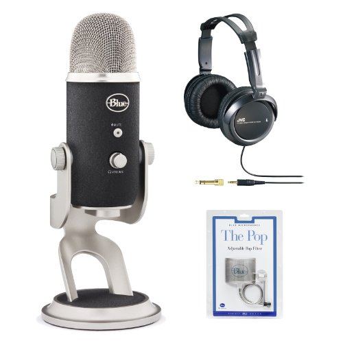Blue Microphones Yeti Pro Multipattern Condenser Microphone With Jvc Studio Headphones And Blue Microphones Pop Filter