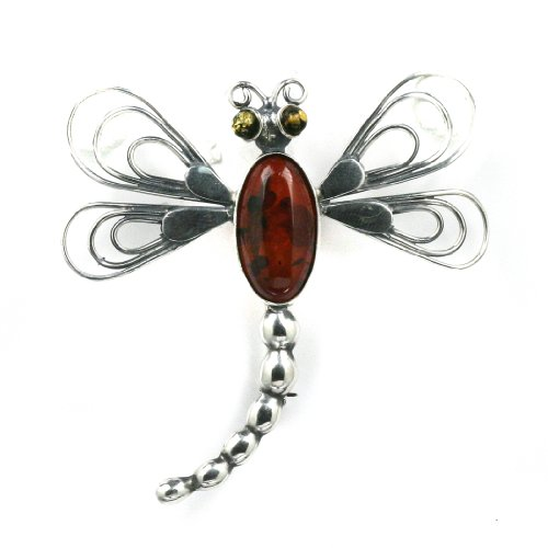 Baltic Honey Amber Sterling Silver Little Museum Collection Dragon Fly Pin 19th Century