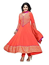 BanoRani Peach Color Faux Georgette & Peach Chicken Embroidery Full Length Anarkali UnStitched Dress Material