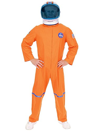 Adult Men's Orange NASA Astronaut Space Suit Costume And Helmet Bundle