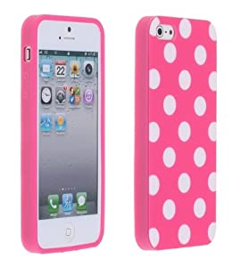 Magenta Pink and White Polka Dot Gloss Flex Gel Case For the NEW Apple iPhone 5 (AT&T, Verizon, Sprint)