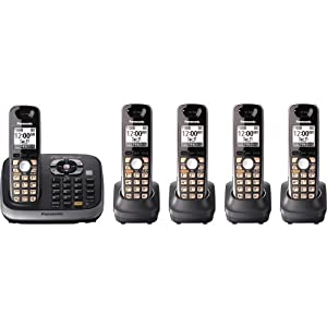 Panasonic KX-TG6545B DECT 6.0 PLUS Expandable Digital Cordless Phone with Answering System, Black, 5 Handsets
