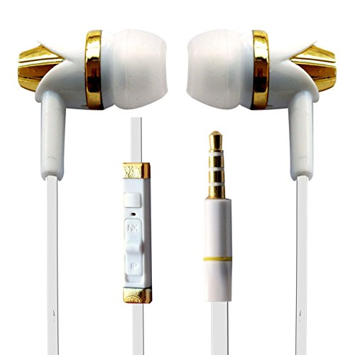 Hello Zone Trendy Comfort Fit & Elegent look Stereo Headset Handsfree Headphone Earphone with Mic 3.5 MM Jack for Nokia Lumia 730 Dual SIM -White with Gold