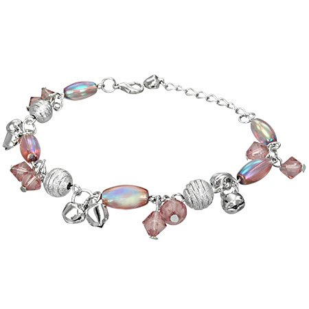 The Stainless Steel Jewellery Shop - Fashion Crystal Glass Beads Oval Ball Bell Charm Bracelet/Anklet