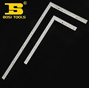 BOSI Polished 150mm/300mm Two-Side Metric/ Inch Steel Carpenters Square