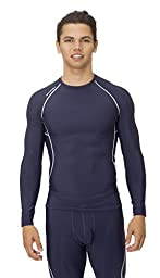 (C1002) AeroskinDry Mens Compression Long Sleeve Tee in Navy / Silver Size: L