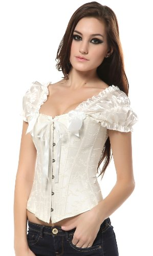 Ivy Shi Women'S Overbust Corset Top With Ruched Sleeves