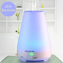 Essential Oil Diffuser, Arespark 100ml Portable Ultrasonic Aroma Humidifier with 7 Color Changing LED Light, Mist Mode Adjustment and Waterless Auto Shut-off Function - For Home Office