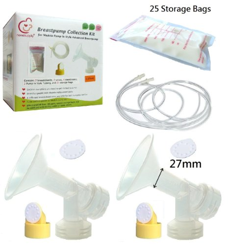 Breast Pump Kit And Breastmilk Storage Bags For Medela Pump In Style Advanced Breastpump. Include 2 Large Breastshields 27Mm, 2 Tubes, 2 Valves, 4 Membranes, And 25 6Oz/180Ml Breastmilk Storage Bags. Replace Medela Personalfit Breastshield, Personalfit Co