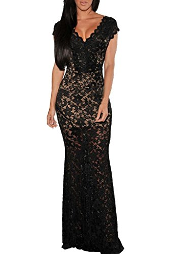 Zkess Women's Short Sleeves Prom Ball Evening Gowns Lace Long Dress One Size Black