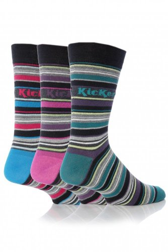 3 Pairs of Mens Kickers Cotton Striped Socks 7-12 (Bastille K35)
