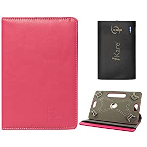 DMG Portable Foldable Stand Holder Cover Case for Iball 3g 7271hd70 (Pink) + 6600 mAh Three USB Port Power Bank