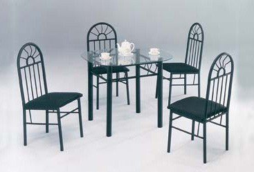 Cheap 5 Piece Black Metal Dining Set – Glass Top Table And 4 Chairs (VF_AZ05-99-11679)