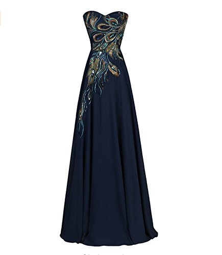Exlinalesha Women's Long Strapless Embroidery Prom Dress A-line Evening Dress DN-US1