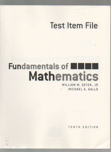 Test Item File Fundamentals of Mathematics