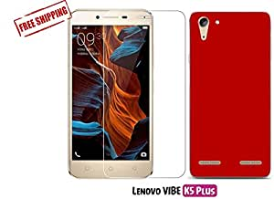 Unistuff™ Lenovo VIBE K5 Plus [COMBO OFFER] 2.5D Curve Edge HD Ultra Clear Tempered Glass and Matte Finish Hard Case Back Cover Accessory Combo (Red)