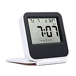 Samshow Travel Alarm Clock with Calendar / Temperature / Repeating Snooze / Backlight (White/Batteries Included)