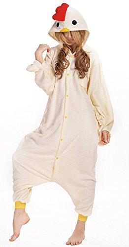 Sunrise Unisex Anime White Chicken Pyjamas Kigurumi Onesie Halloween Costume (Small) (Chicken Costumes For Adults)