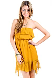 Everly Sheer Two Layered Tube Dress in Mustard Yellow