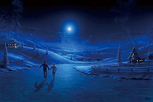 Nature Art Poster Print on Canvas 20x29in- Night ice pair light moon skating rink art lodge smoke