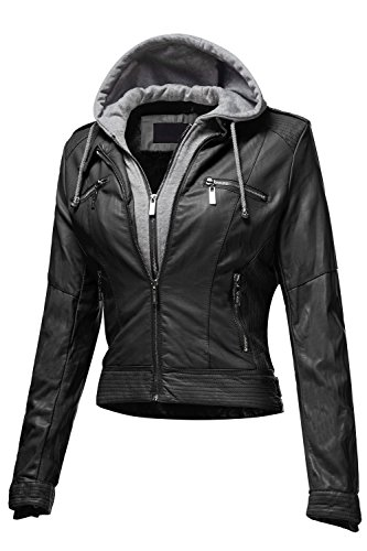 Faux Leather Moto Bomber Hoodie Jackets 003-Black Large