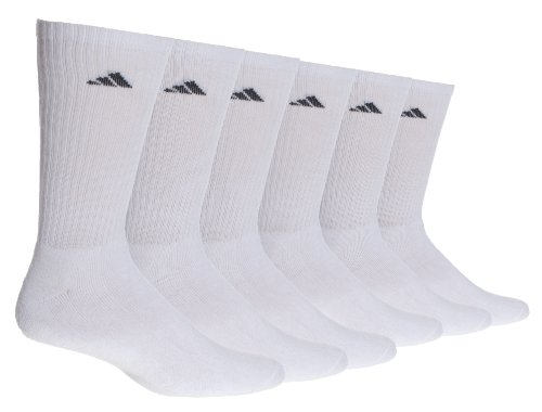 adidas Men's 6-Pack Crew Sock, White/Black, Sock Size 10-13, Shoe Size 6-12