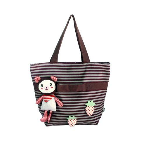 [Rabbit & Cherry] 100% Cotton Canvas Shoulder Tote Bag / Shopper Bag front-928900