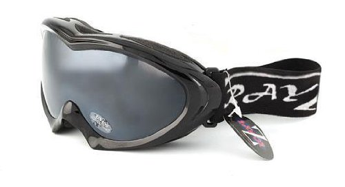 2012 Rayzor Professional UV400 Double Lensed Ski / SnowBoard Goggles, With a Black Frame and an Anti Fog Coated, Smoked Mirrored Anti-Glare Wide Vision Clarity Lens.