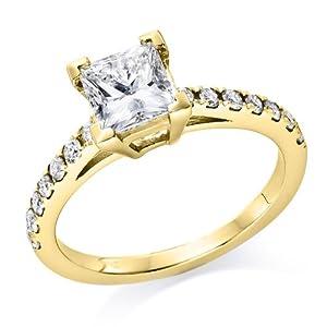 Klassischer 18 Karat (750) Gelbgold Solitär Verlobung Diamant Damenring Brilliantschliff 1 Karat