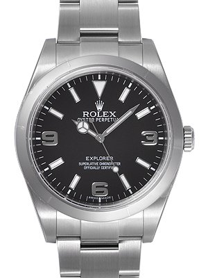 Rolex Explorer Black Dial Domed Bezel Oyster Bracelet Mens Watch 214270BKASO