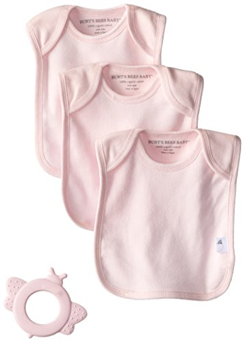 Burt'S Bees Baby-Girls Newborn Set Of 3 Solid Bee Essentials Lap Shoulder Bibs Rubber Bee Teether - Blossom, Blossom, One Size front-790984