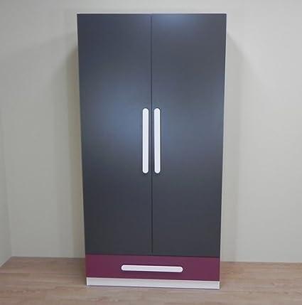Azor - Armario 2 puertas grafito con cajon, medidas 100 x 51,5 x 198 cm, color grafito y berenjena