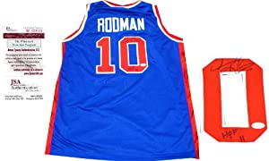 Dennis Rodman HOF 11 Autographed Detroit Pistons Jersey by Hollywood+Collectibles