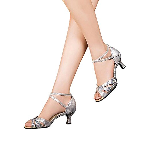 Women's Latin dance shoes with soft sole female Latin sandals Ballroom Dance Shoes (6 B(M) US, silver)