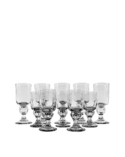 Set of 10 Vintage Holiday Bow Stemware, Clear