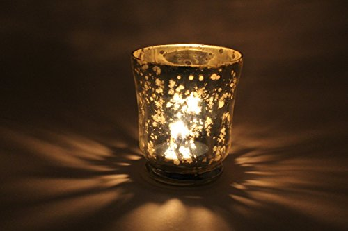HOMEinc, Glass Tealight Candle Holder, 3 Inch, Silver