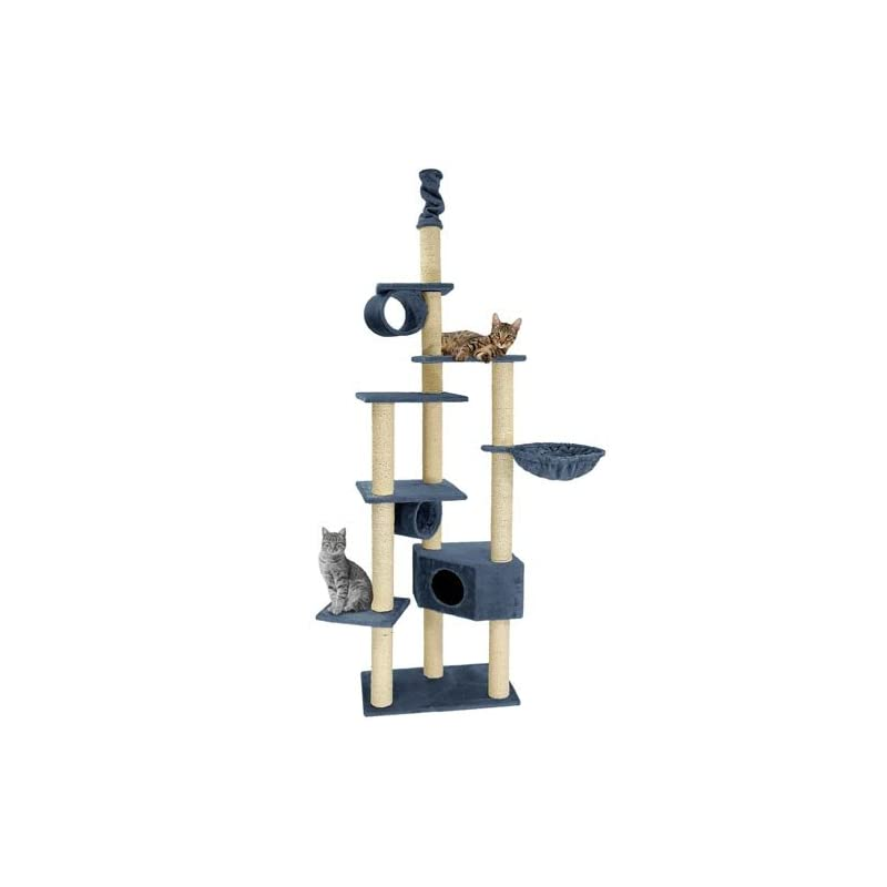 Happypet CAT008 Arbre à chat Griffoir Grattoir 230-260cm Bleu
