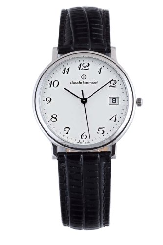 Claude Bernard Men's 70149 3 BB Classic Gents White Dial Black Leather Watch
