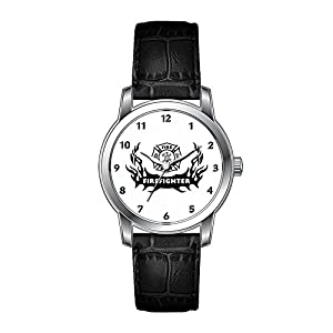 AMS Christmas Gift Watch Women's Vintage Design Leather Black Band Wrist Watch Firefighter Tattoo Wristwatches